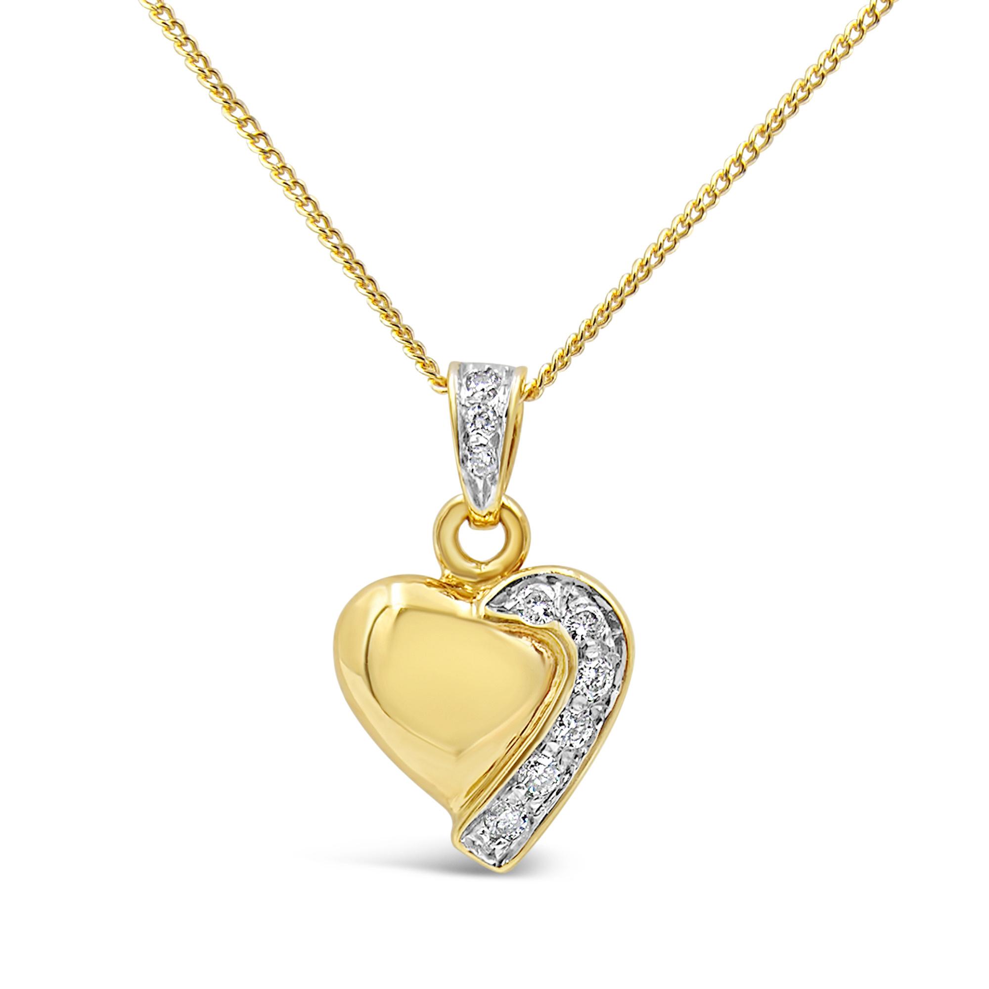 18 karaat geel & wit goud hart hanger met 0.12 ct diamanten