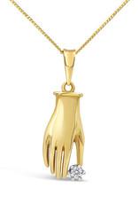 18 karaat geel goud hand hanger met 0.05 ct diamant