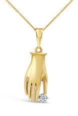 18 karat yellow gold hand pendant with 0.05 ct diamond