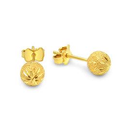 18 karaat geel goud oorbellen bol met mat afwerking