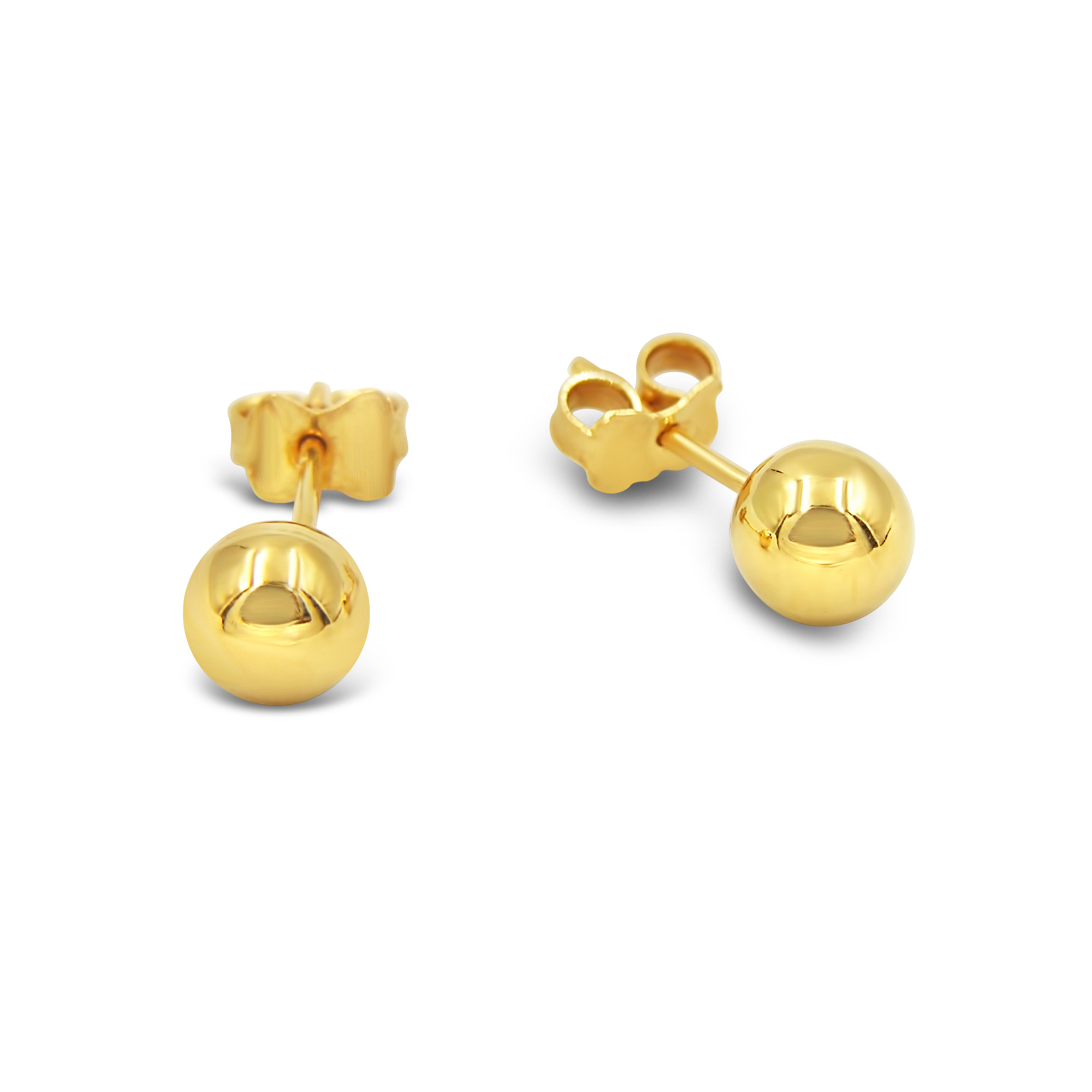 18 karat yellow gold earrings ball with shiny  finish