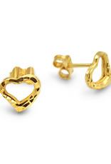 18 karaat geel goud oorbellen hart met glanzend afwerking
