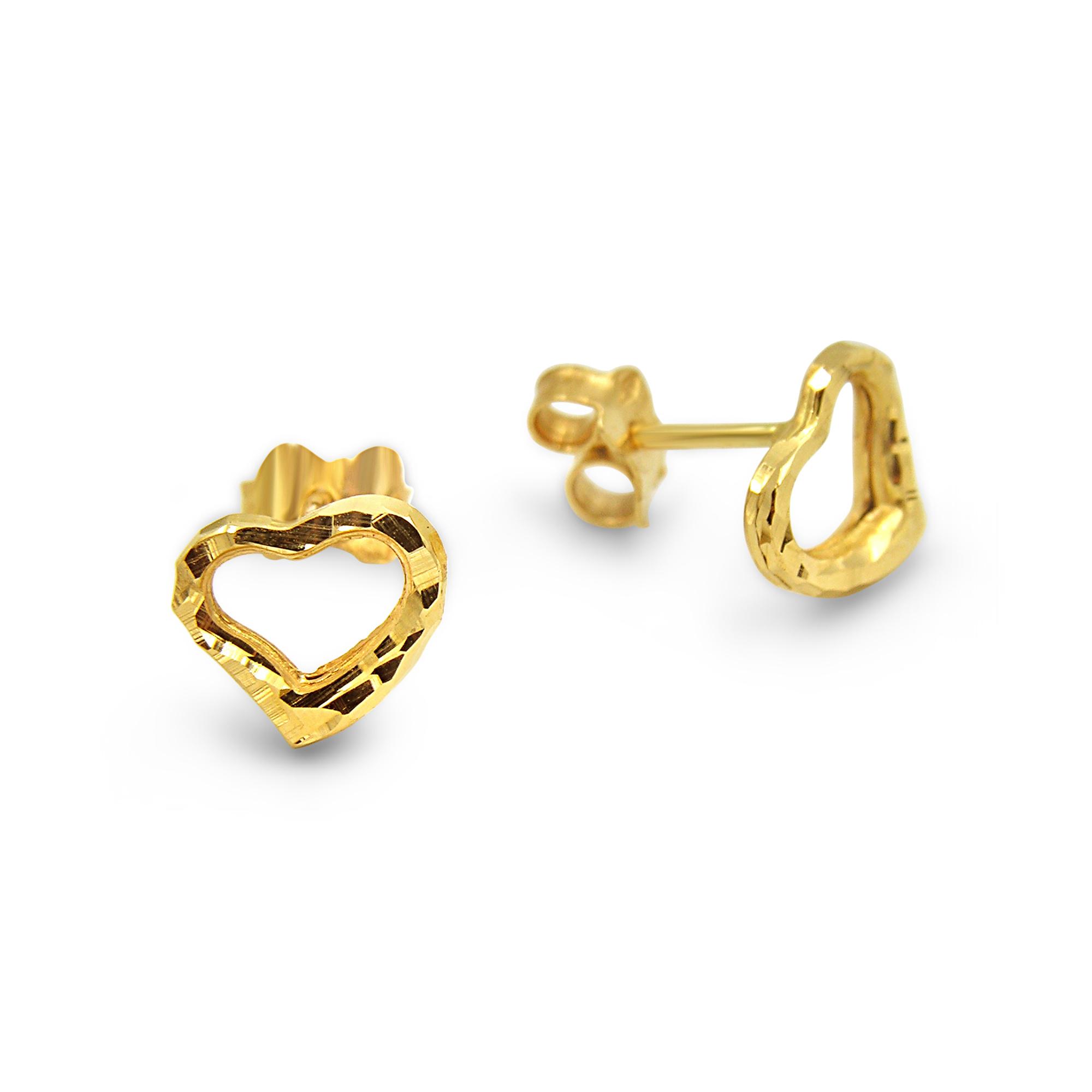18 karat yellow gold earrings heart with shiny  finish