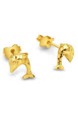 18 karat yellow gold earrings dolfhin with shiny  finish
