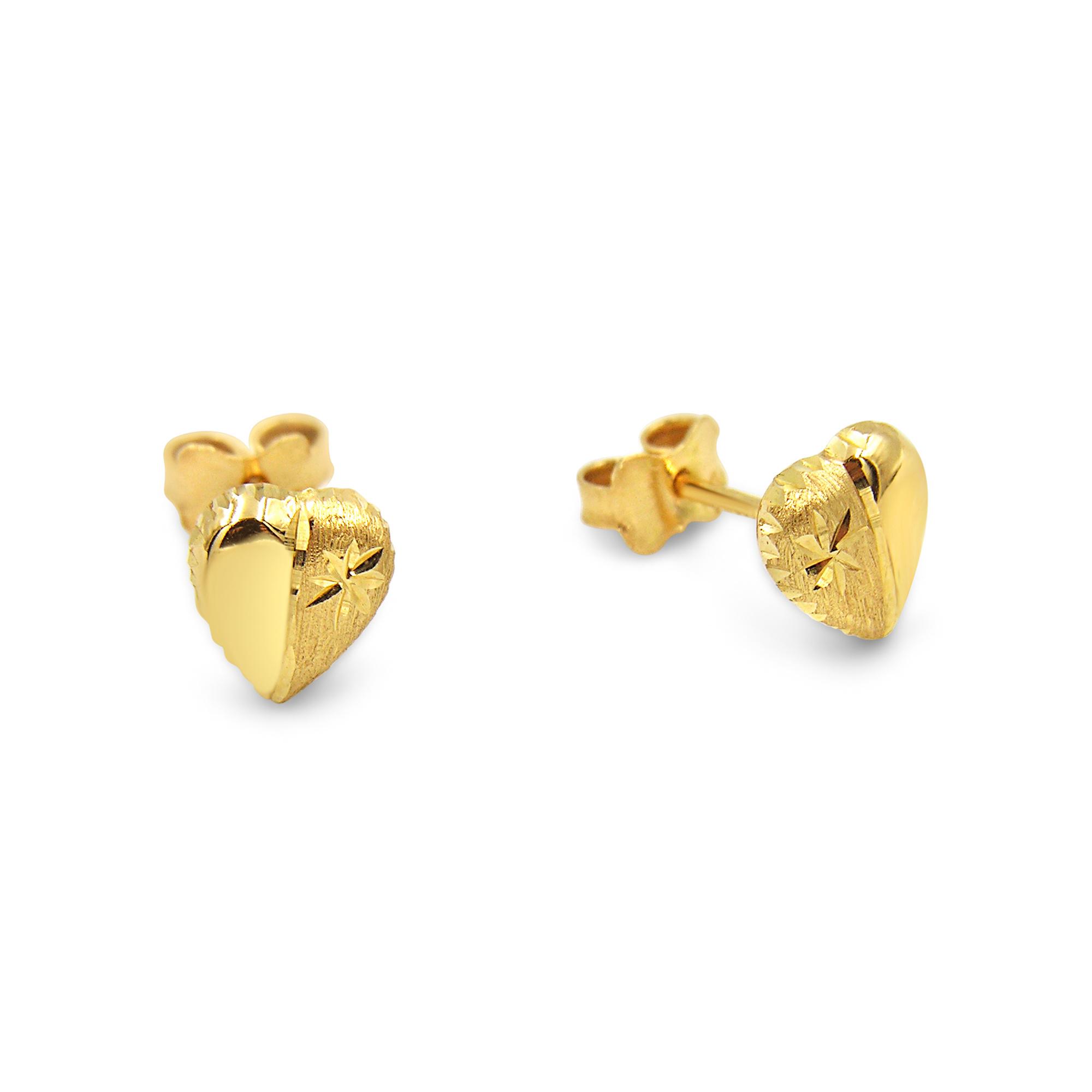 18 karat yellow gold earrings heart  with shiny & matt  finish