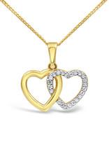 18 karaat geel & wit goud dubbel hart hanger met zirkonia