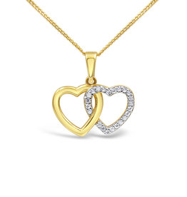18 karat yellow & white gold double heart pendant with zirconia