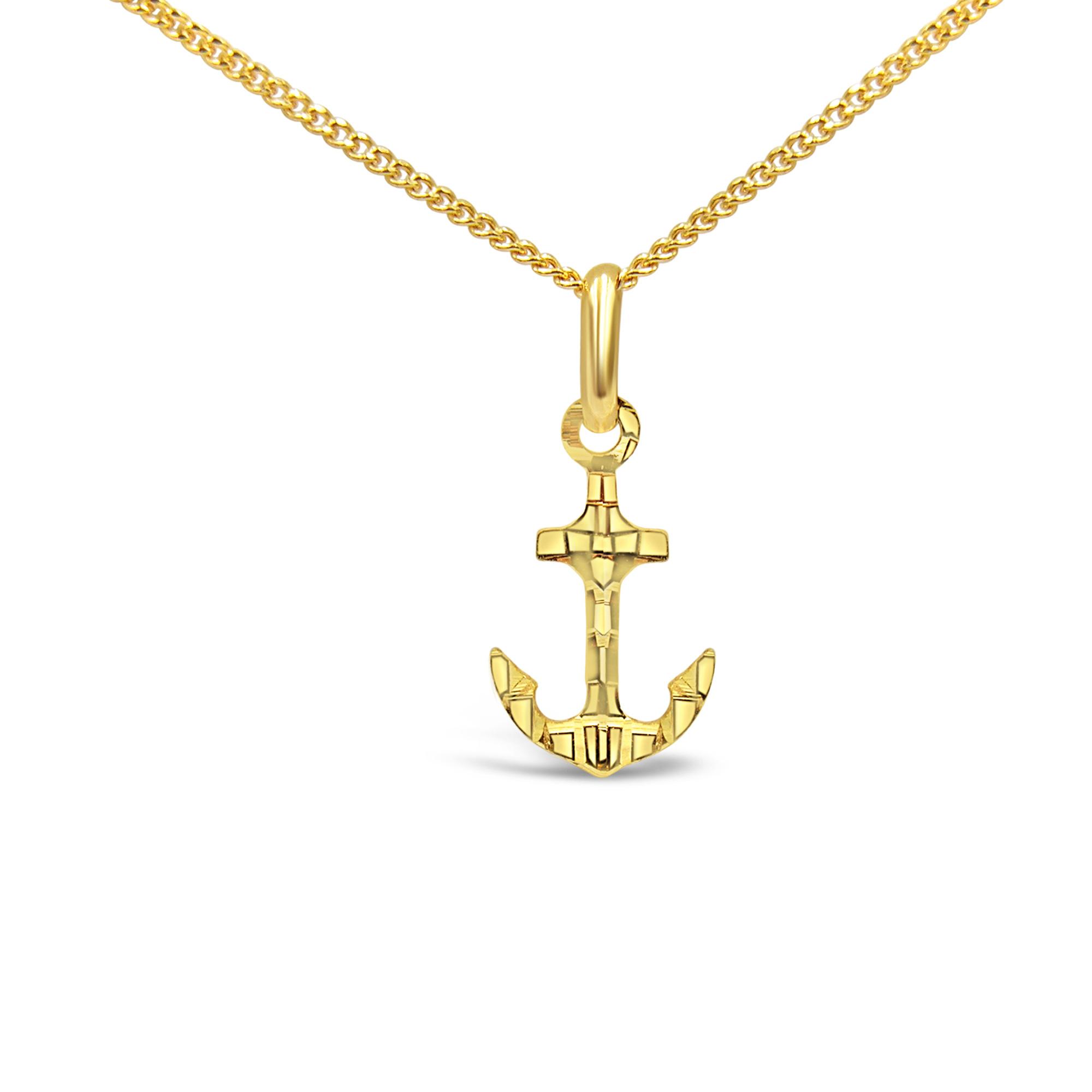 18 karaat geel goud boot anker hanger