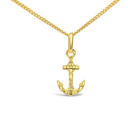 18 karat yellow gold boat anchor pendant