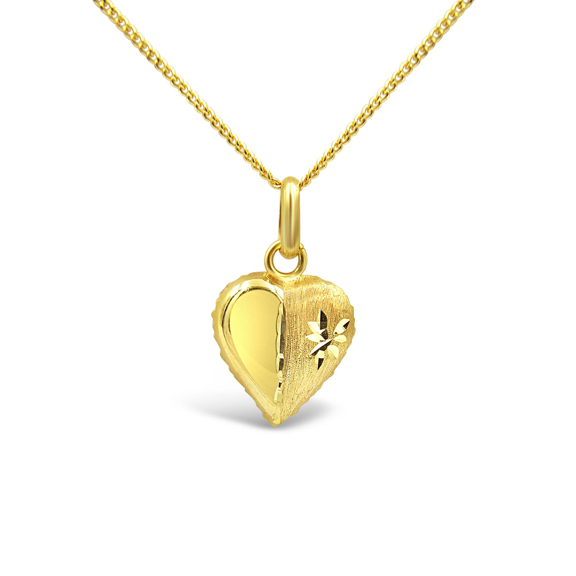 18 karat yellow gold heart pendant with matt & shiny finish