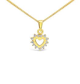 18 karat yellow gold heart pendant with zirconia