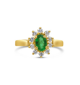 18 karat yellow gold ring with 0.30 ct diamonds  and 0.50 ct emerald