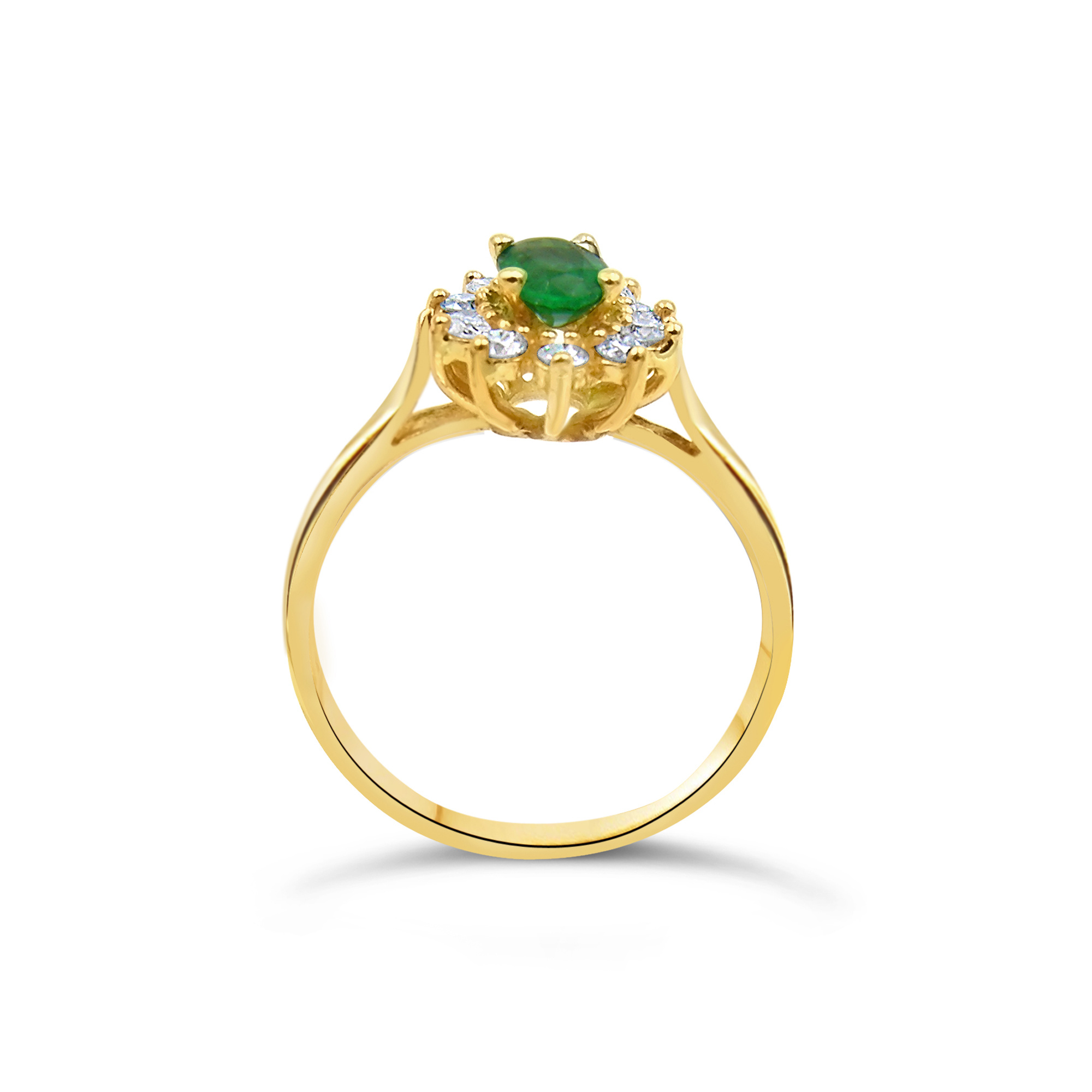 18 karaat geel goud ring met 0.30 ct diamanten en 0.50 ct smaragd