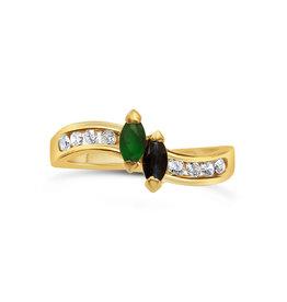 18 karat yellow gold ring with 0.16 ct diamonds  and 0.20 ct emerald & sapphire