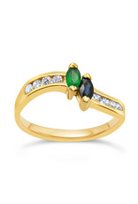 18 karat yellow gold ring with 0.16 ct diamonds  and 0.20 ct emerald & sapphire