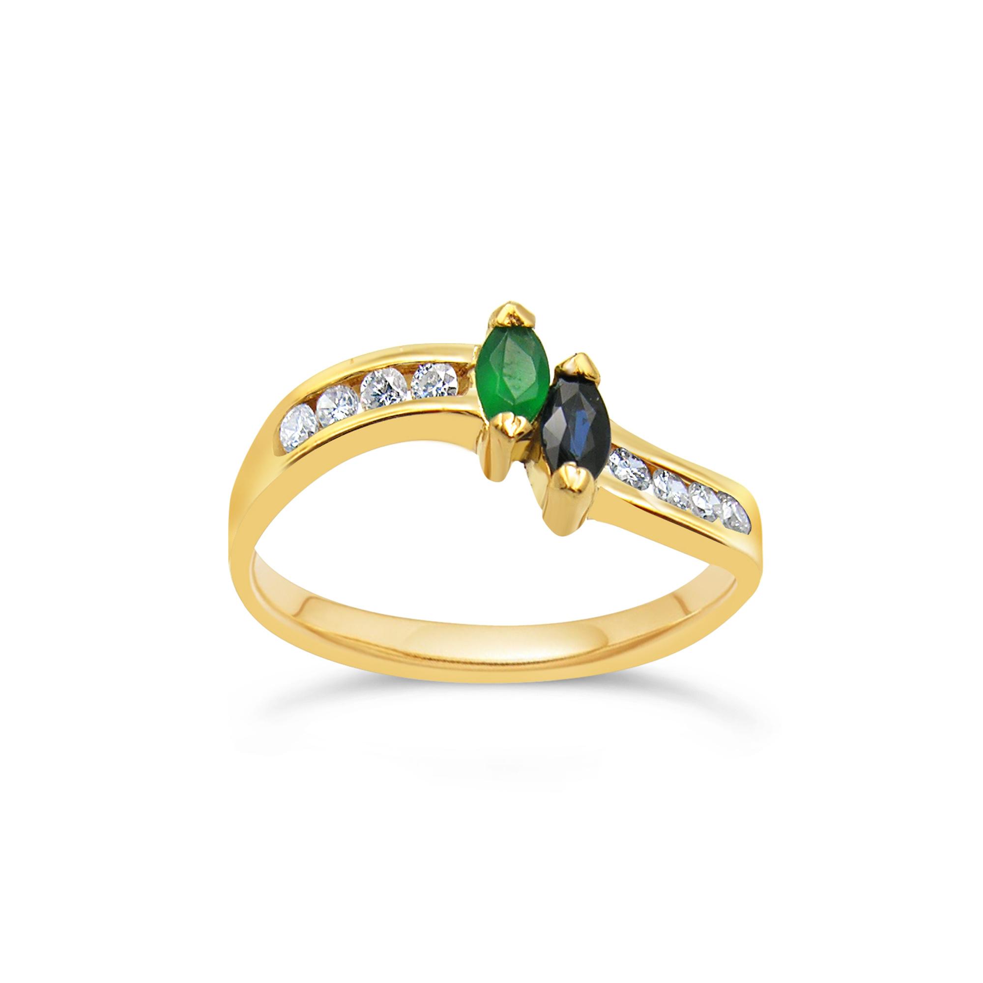 18 karaat geel goud ring met 0.16 ct diamanten & 0.20 ct smaragd & saffier