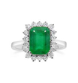18 karat white gold ring with 0.42 ct diamonds  & 4.80 ct emerald