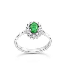 18 karaat wit goud ring met 0.20 ct diamanten & 0.50 ct smaragd