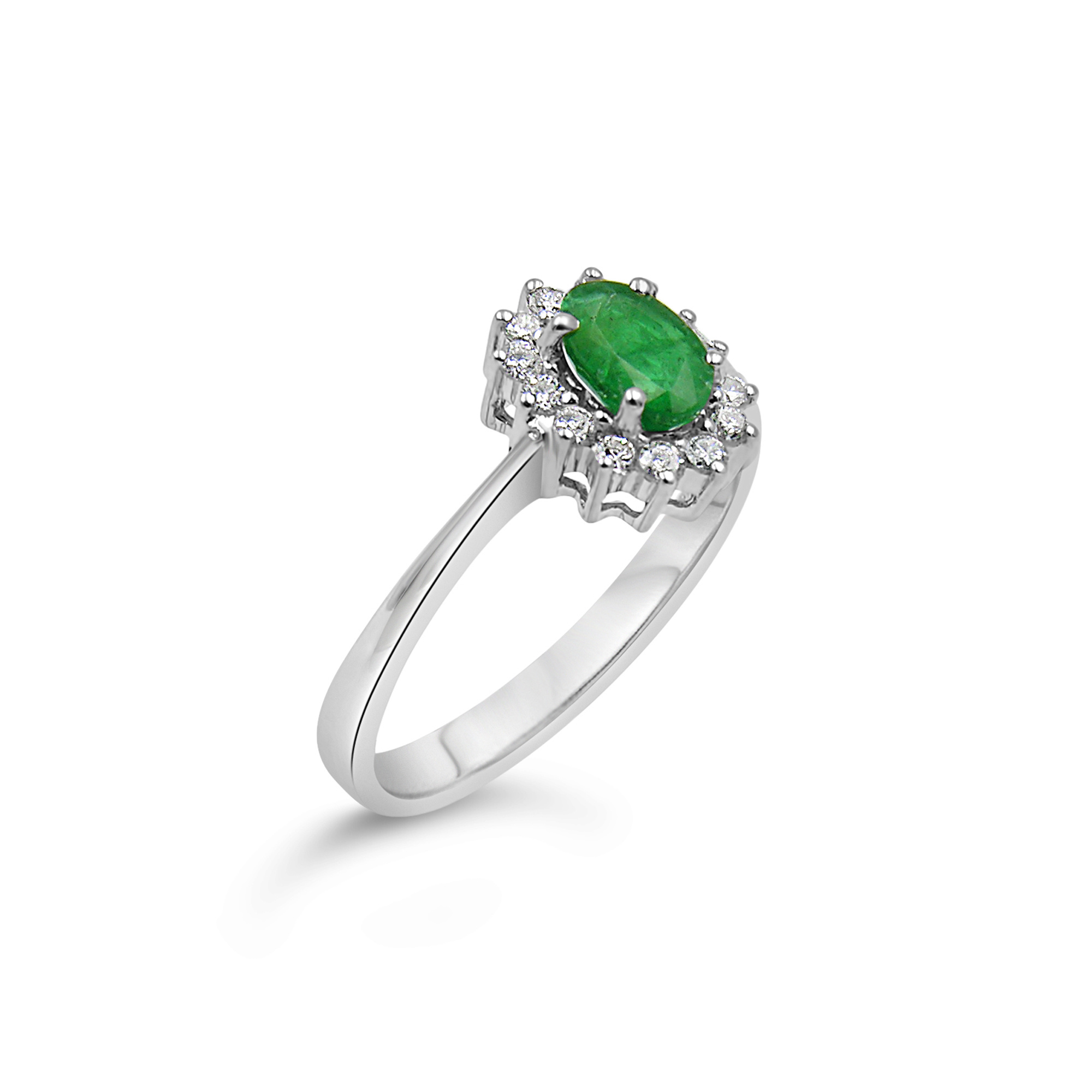 18 karaat wit goud ring met 0.20 ct diamanten & 0.50 ct smaragd
