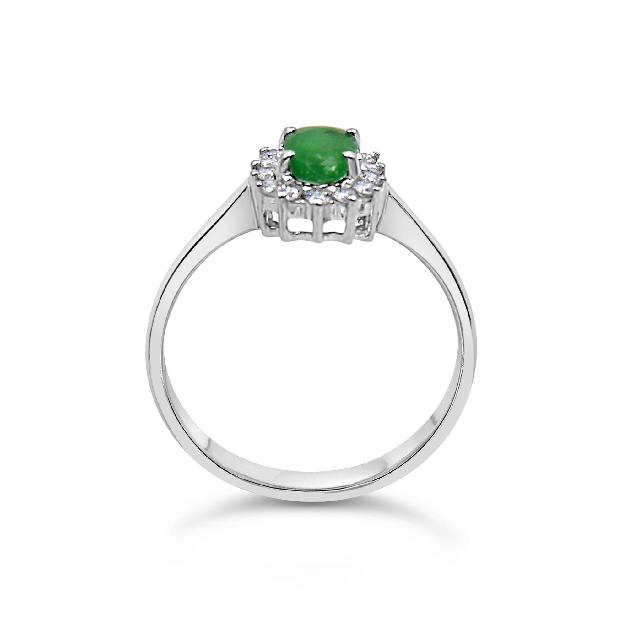 18 karat white gold ring with 0.20 ct diamonds  & 0.50 ct emerald
