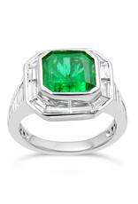 18 karat white gold ring with 1.36 ct diamonds  & 4.60 ct emerald
