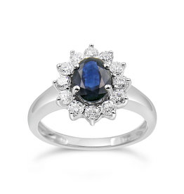 18 karat white gold ring with 0.60 ct diamonds  & 1.10 ct sapphire