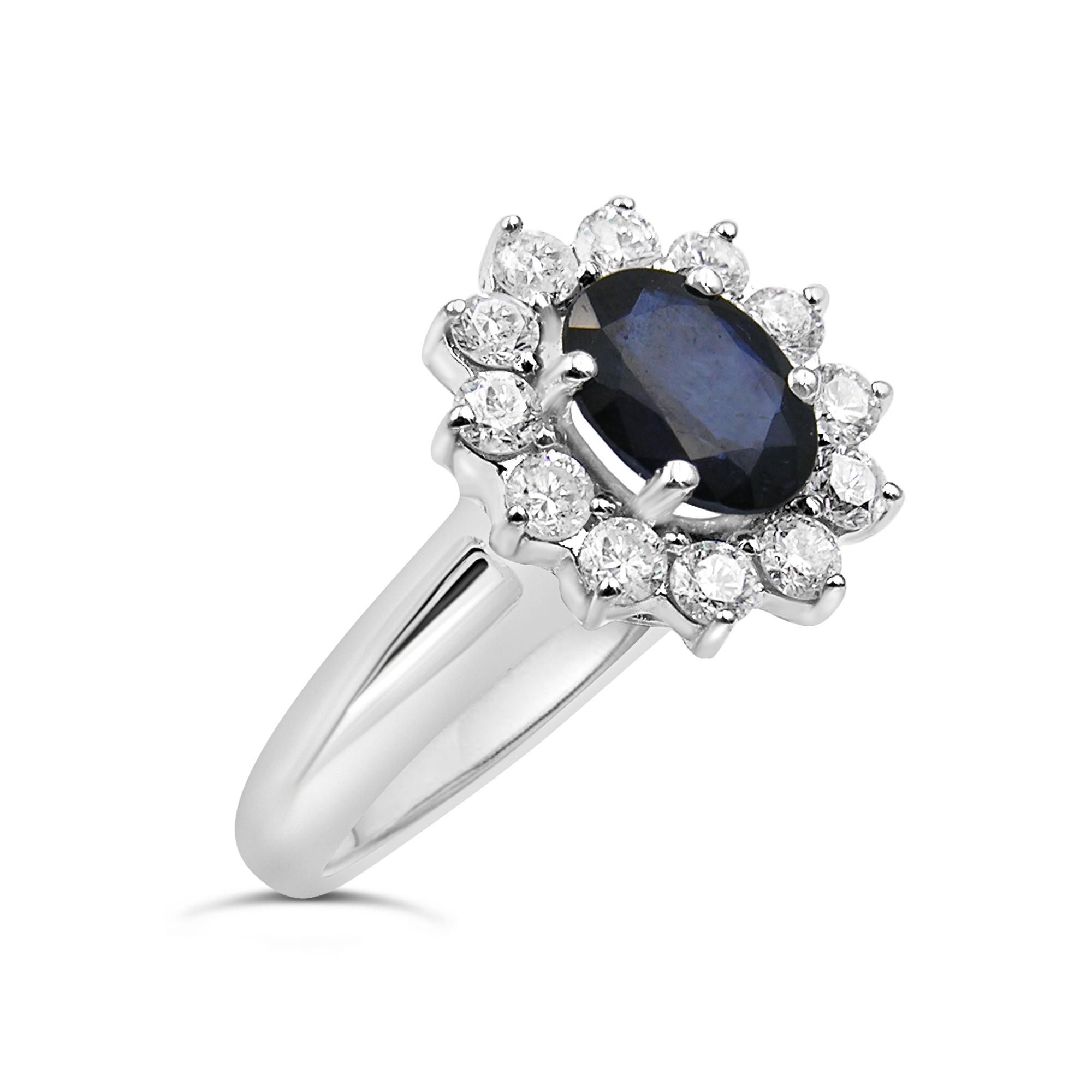 18 karaat wit goud ring met 0.60 ct diamanten & 1.10 ct saffier