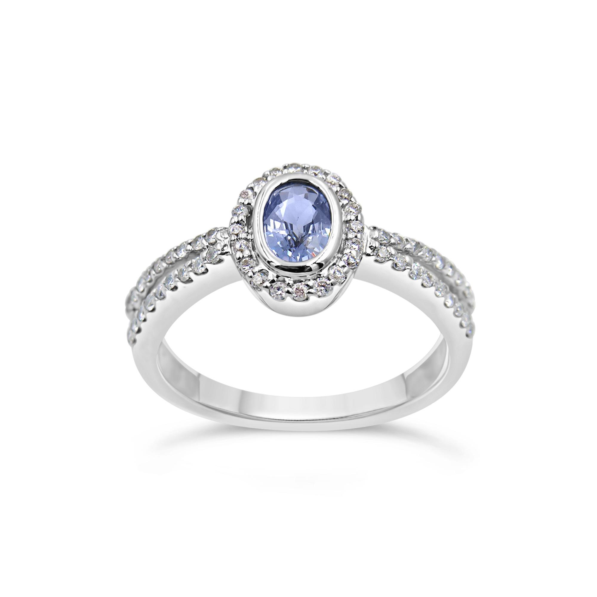 18 karaat wit goud ring met 0.29 ct diamanten & 0.49 ct saffier