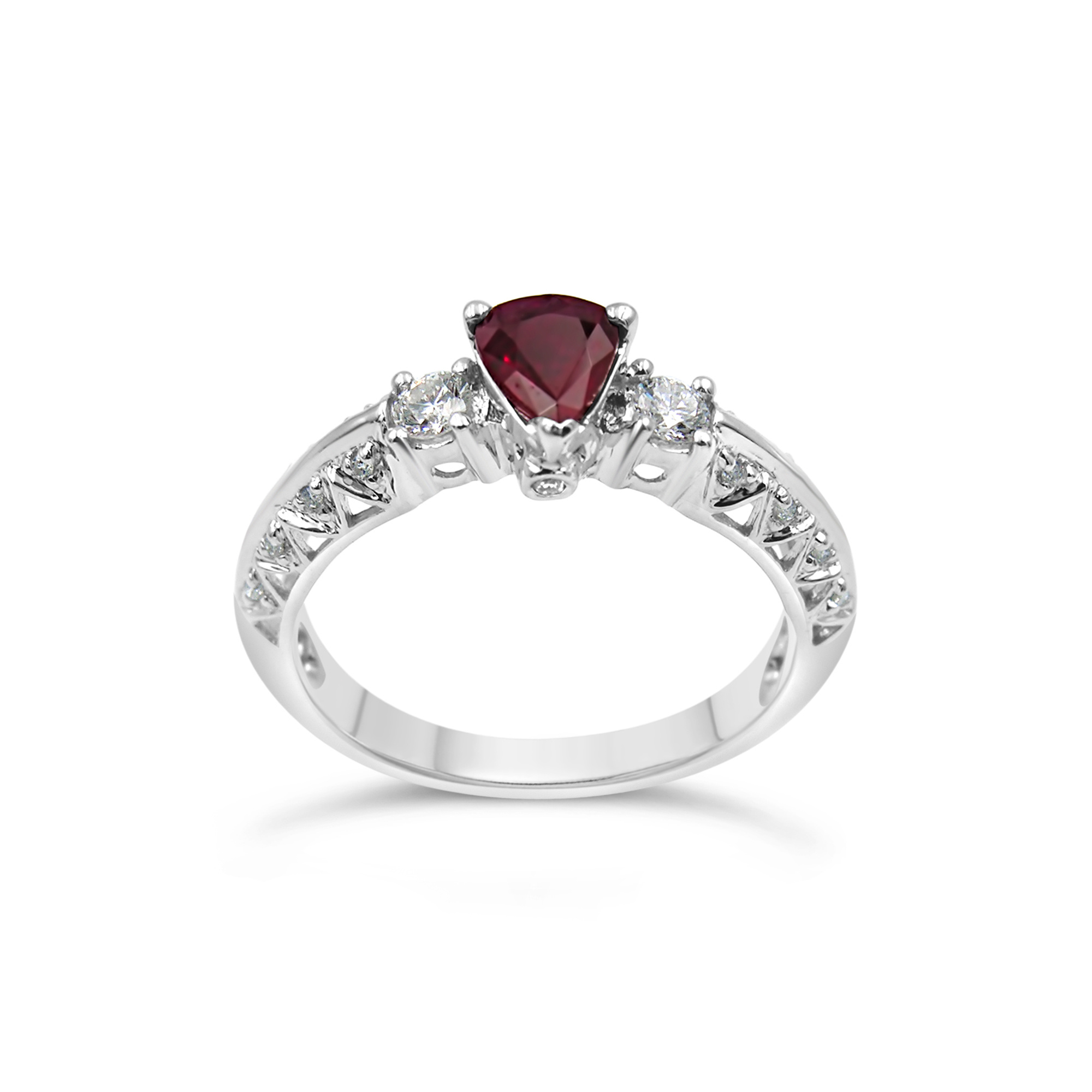 18k wit goud ring met 0.26 ct diamanten & 0.51 ct robijn