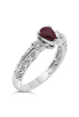 18k white gold ring with 0.26 ct diamonds  & 0.51 ct ruby