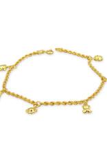 18 kt geel goud bedelarmband met hart,lieveheersbeestje,beer,watermeloen,zon,schildpad
