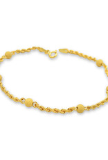 18 kt yellow gold rope charm bracelet with balls