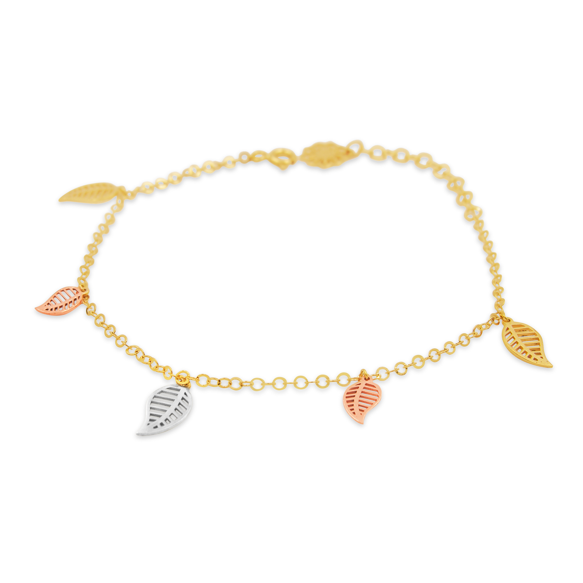 18 kt yellow gold charm bracelet with 3 color gold leafs