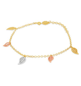 18 kt geel goud bedelarmband met 3 kleur goud bladeren