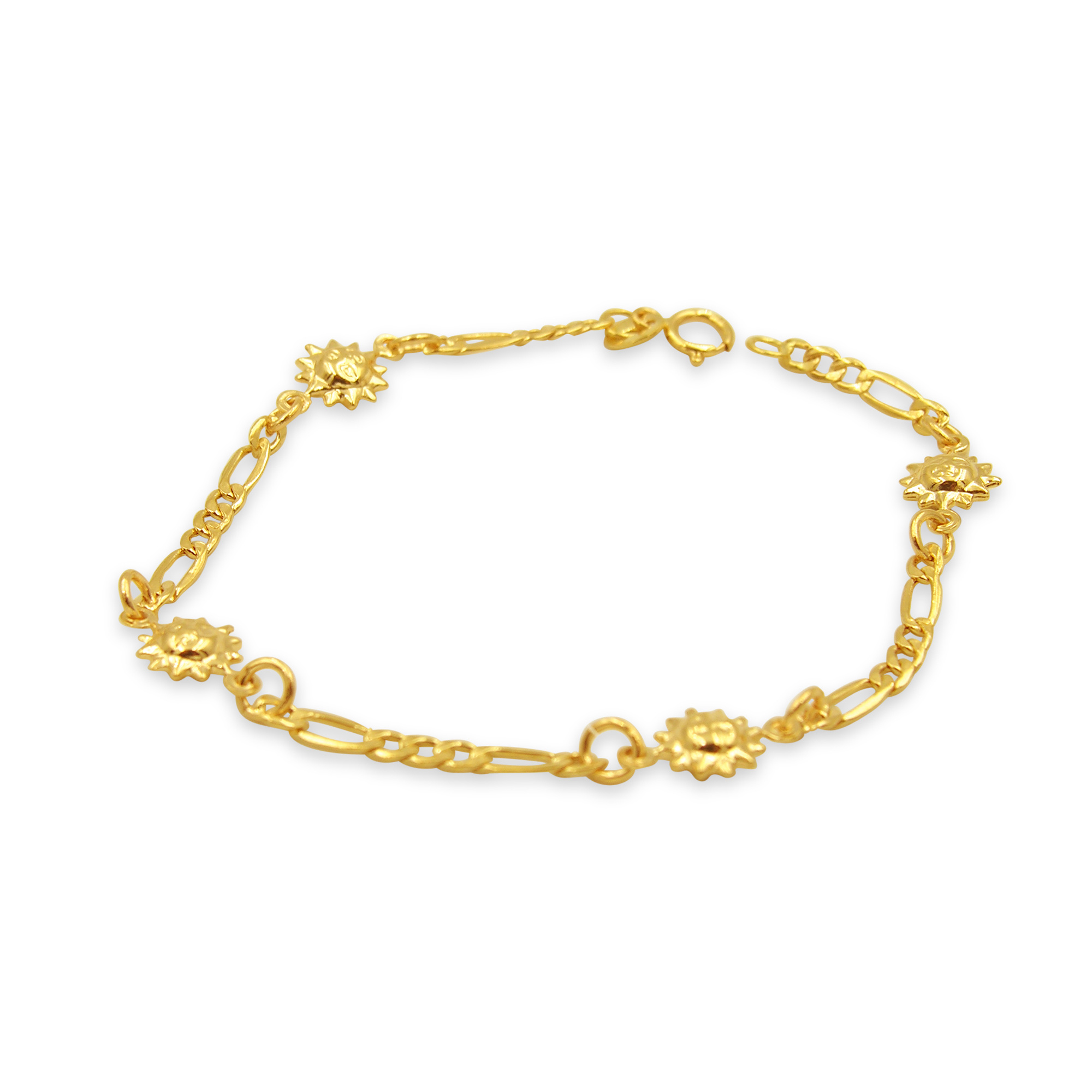 18 kt yellow gold charm bracelet with sun