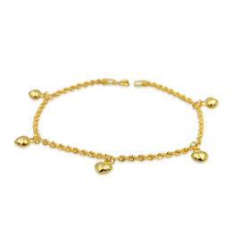 18 kt geel goud touw bedelarmband met hart