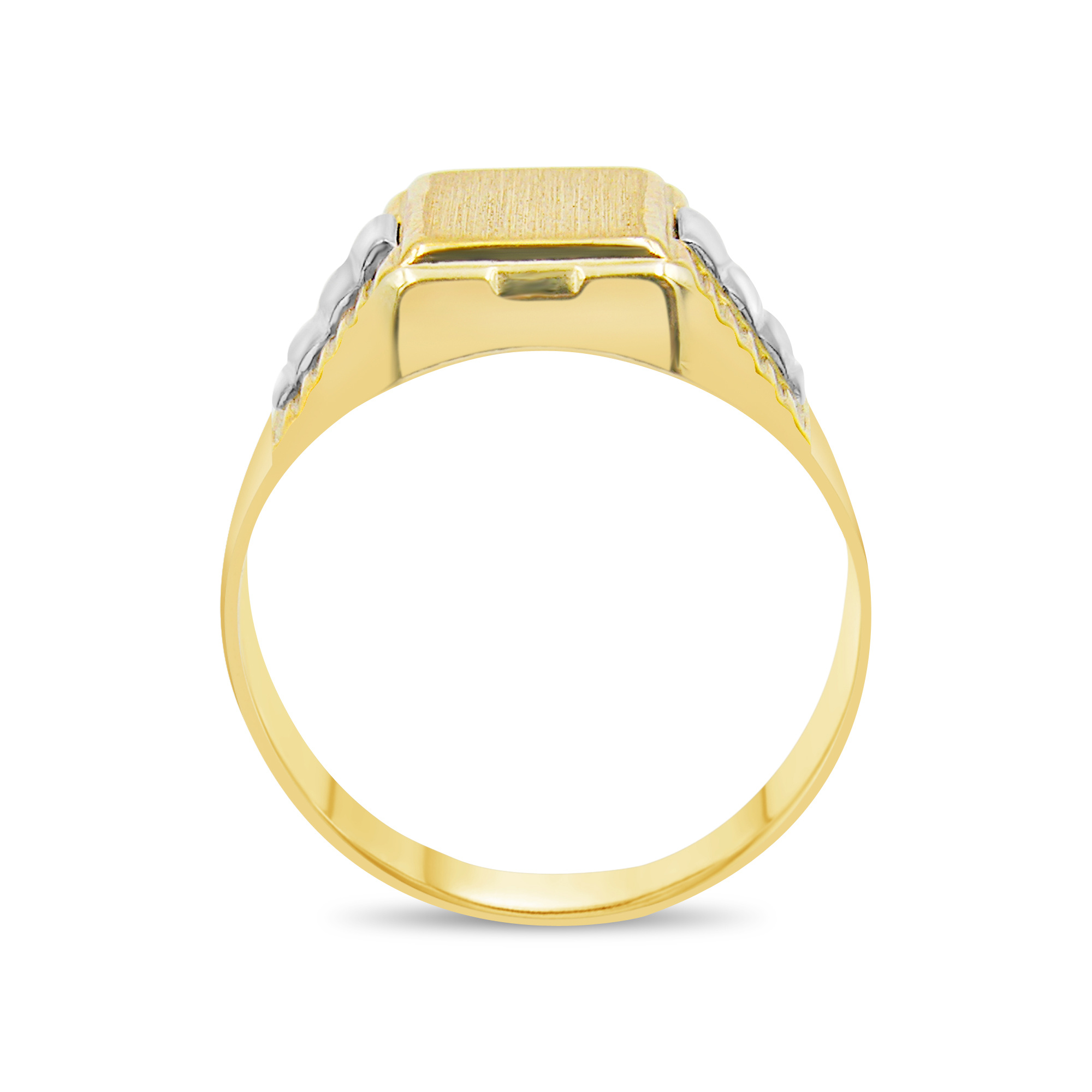 18 kt geel & wit goud heren ring
