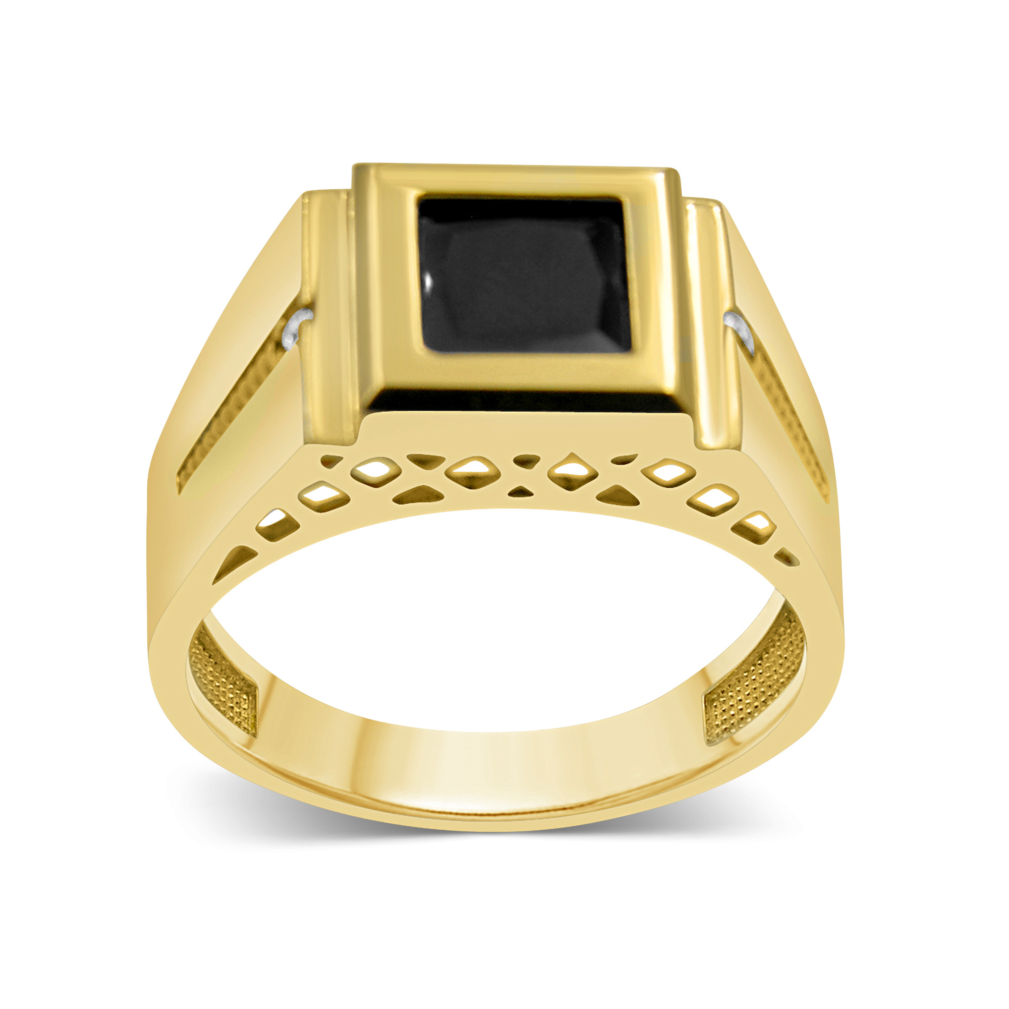18 kt geel goud heren ring met onyx & zirkonia