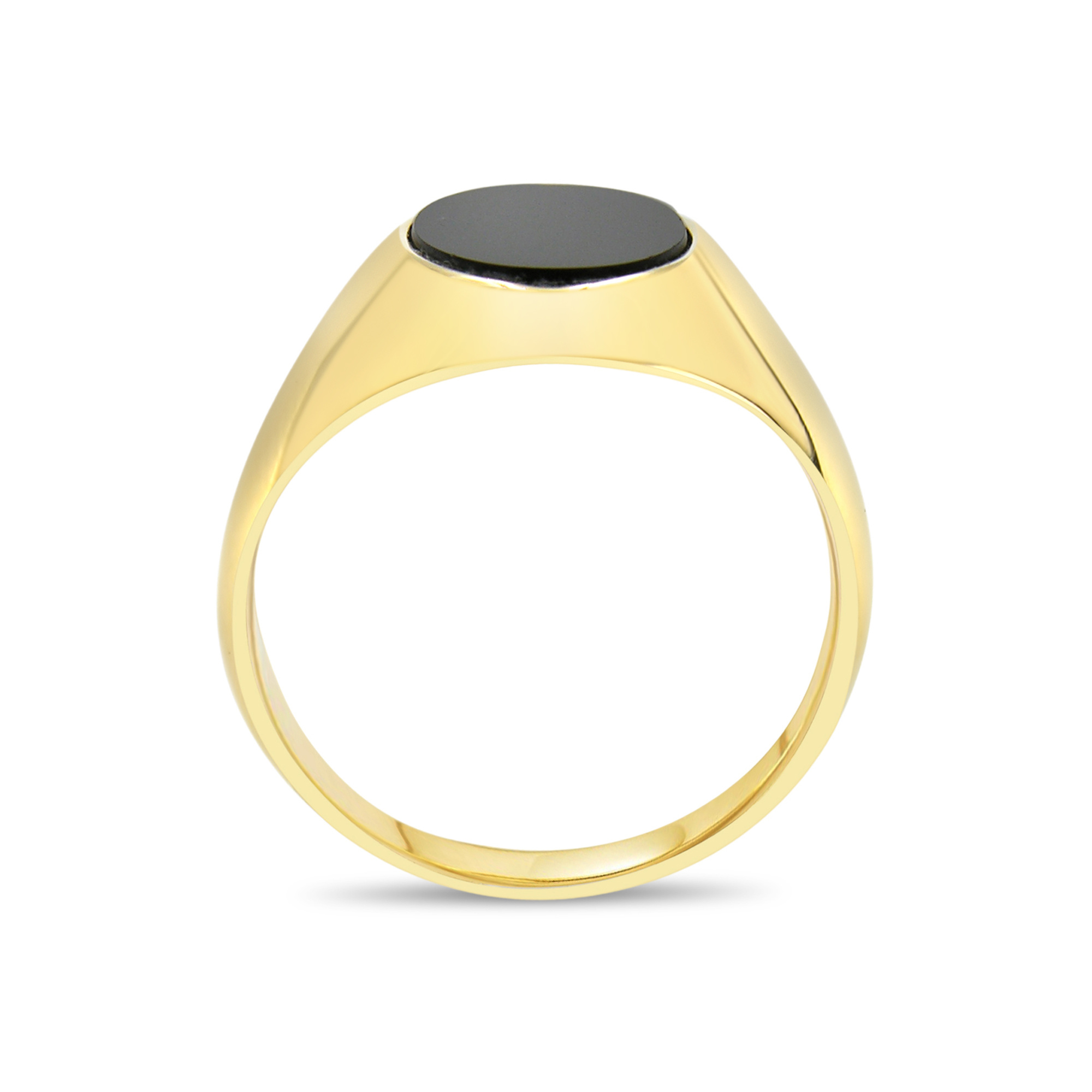18 kt yellow gold men's ring with onyx