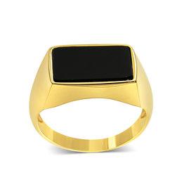 18 kt geel goud heren ring met onyx
