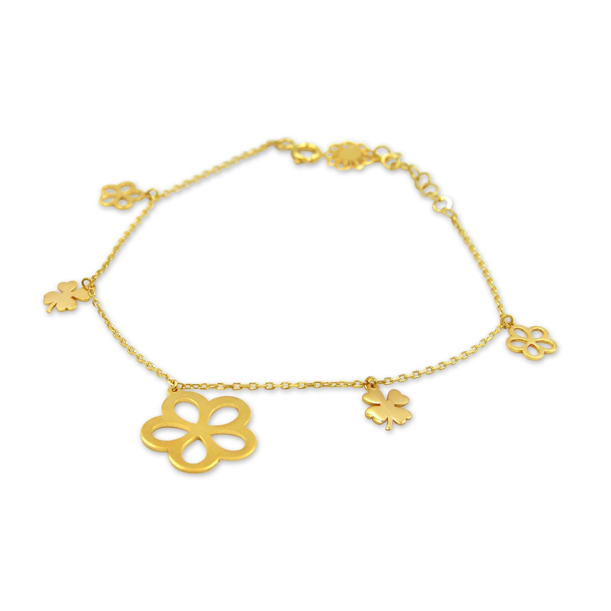 18 kt yellow gold charm bracelet with 3 color gold