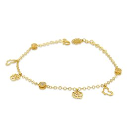 18 kt yellow gold charm bracelet with 3 color gold with zirconia