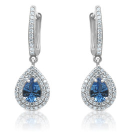 18 kt gold earrings with blue & white ziconia
