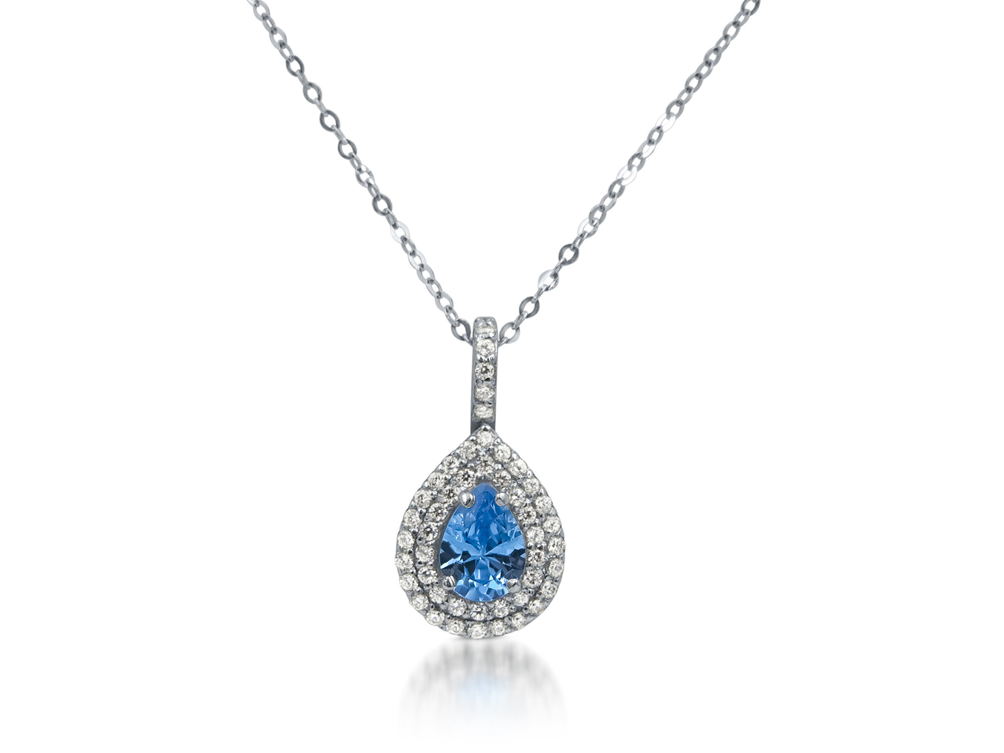 18 kt white gold pendant with blue & white zirconia