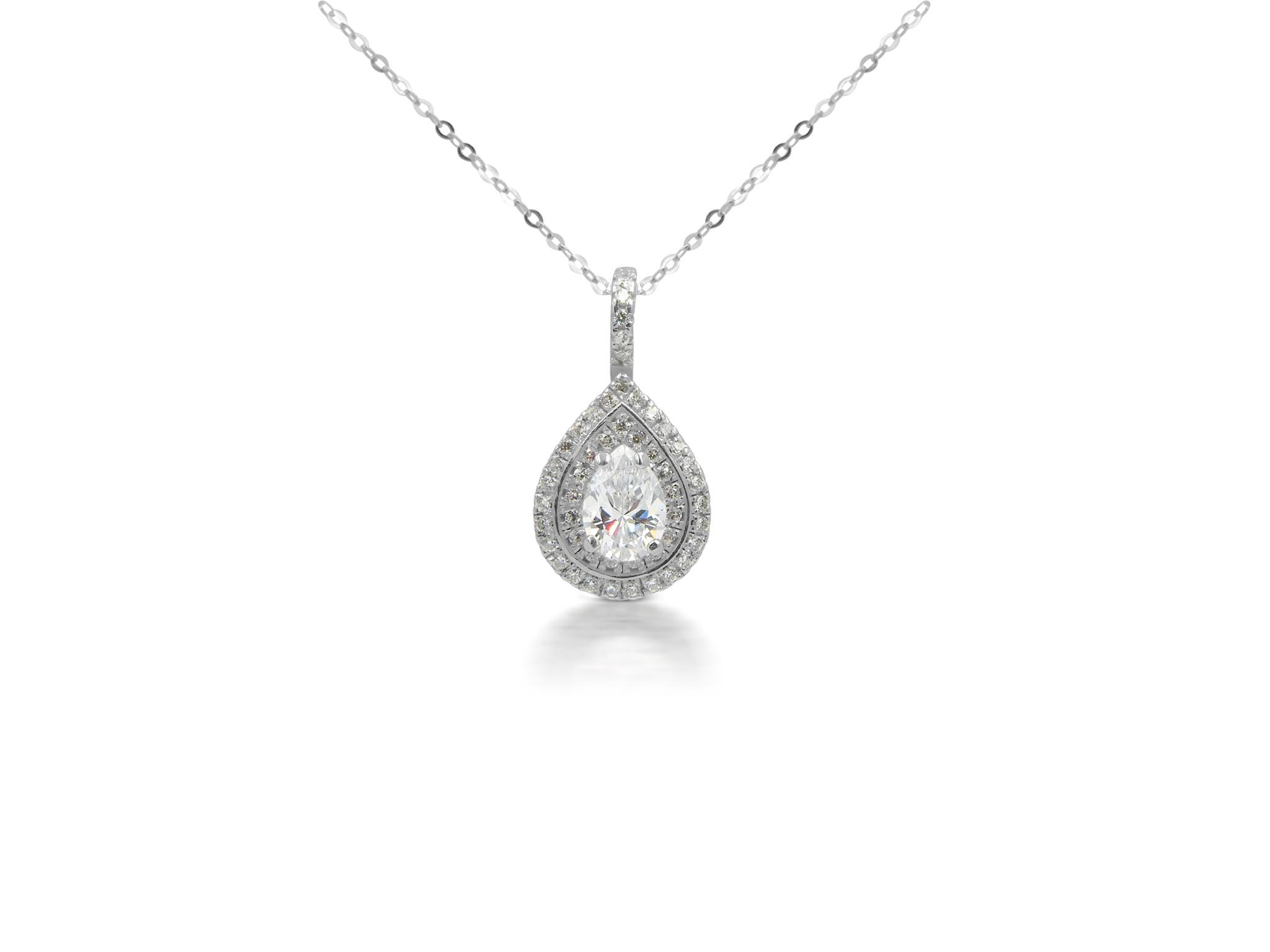 18 kt white gold pendant with zirconia