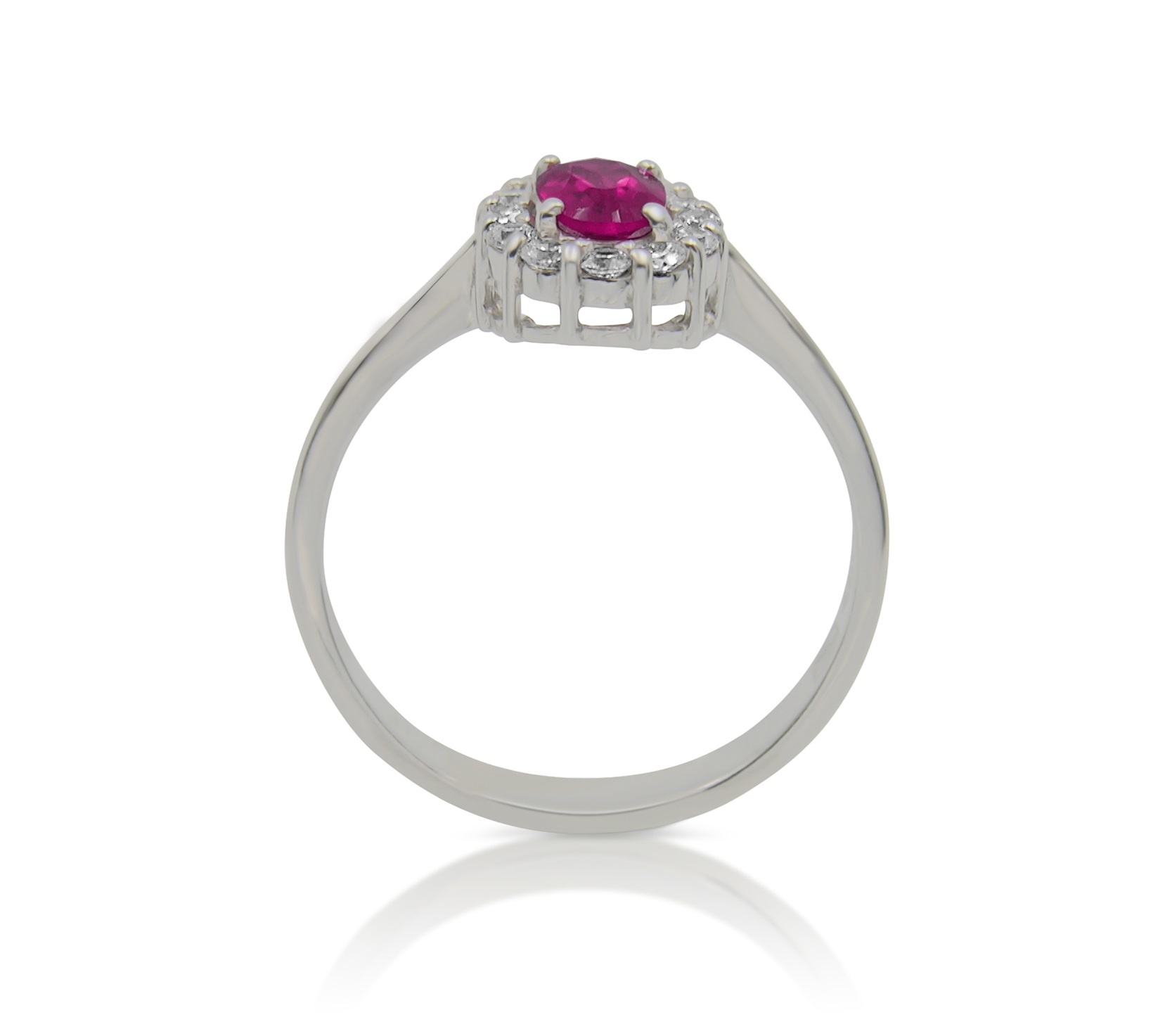 18 kt white gold engagement ring with red & white zirconia