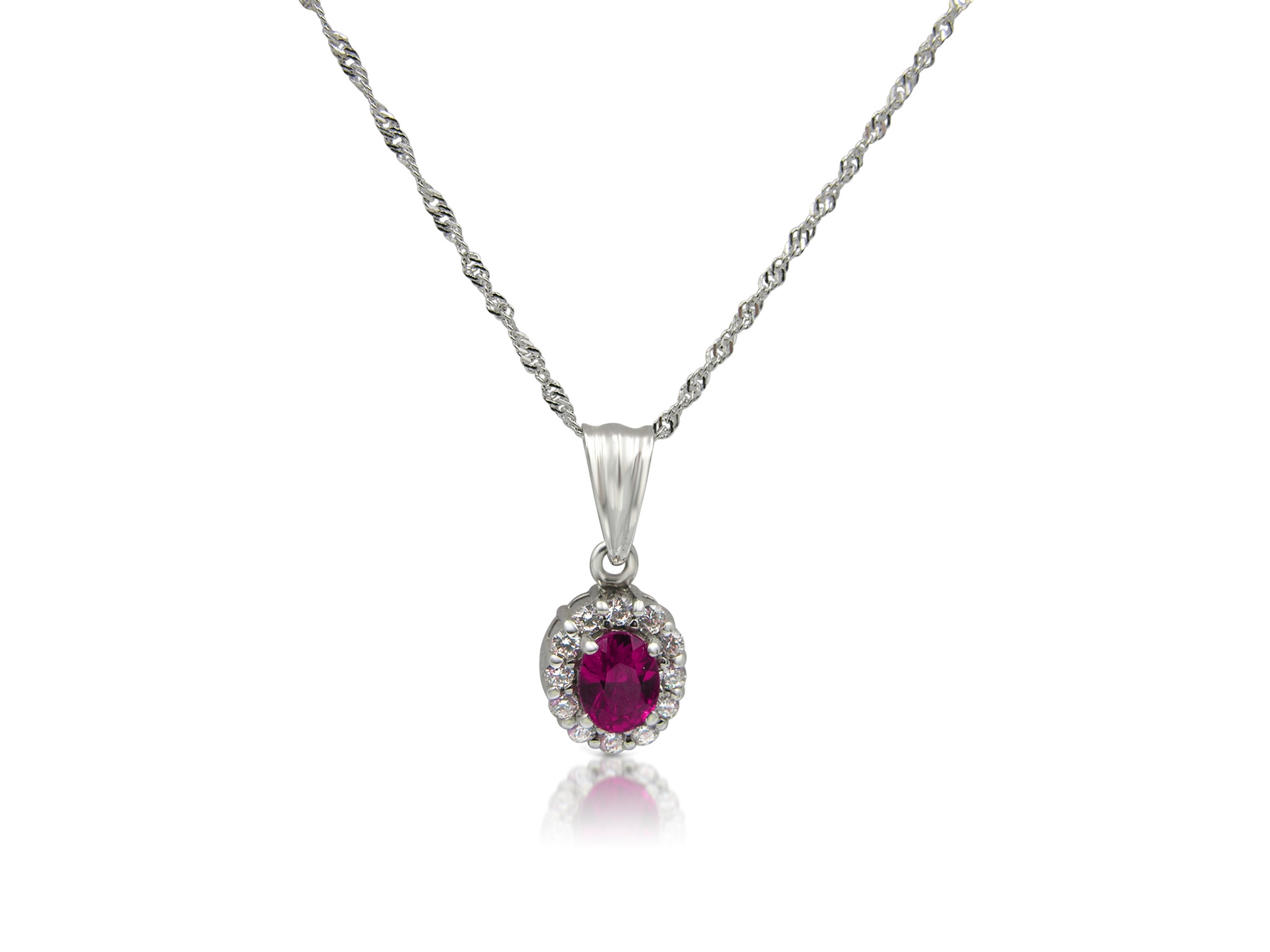 18 kt white gold pendant with red & white zirconia