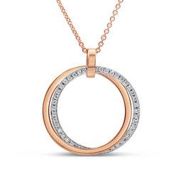 18kt wit & roze goud hanger met 0.46 ct diamanten