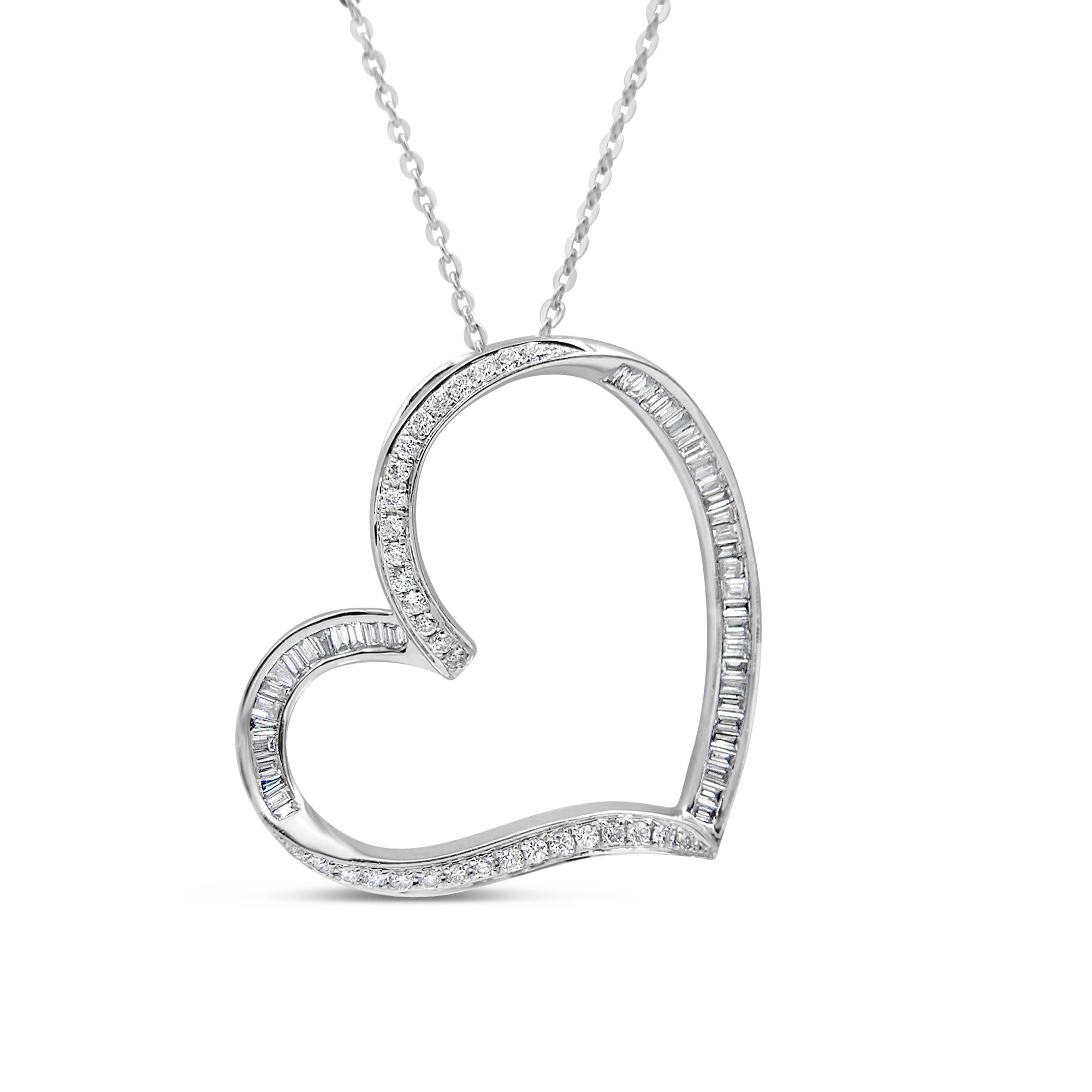 18kt wit goud hart hanger met 0.43 ct diamanten