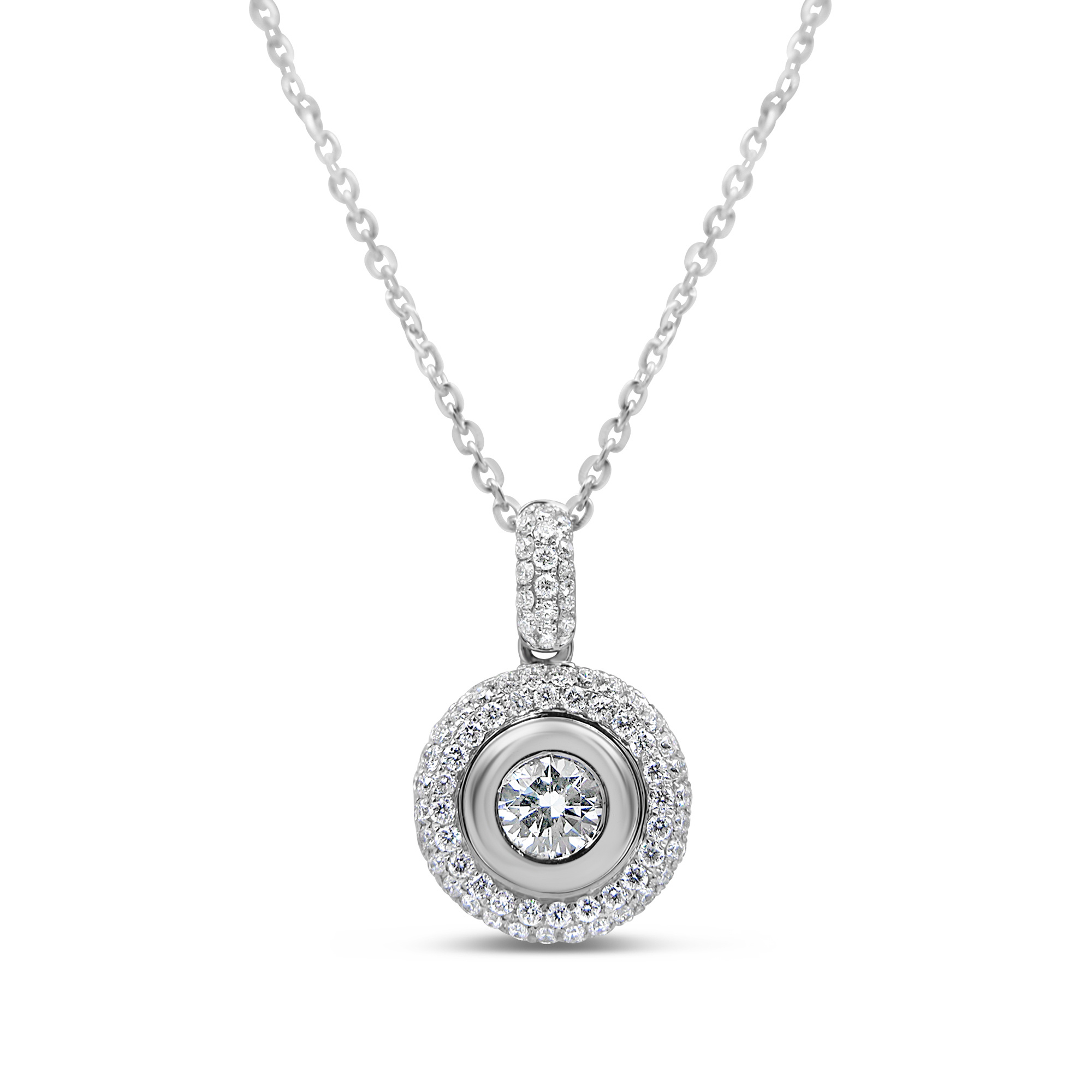 18kt white gold pendant with 0.85 ct diamonds